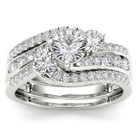 De Couer 14k White Gold 1 1/4ct TDW Diamond Bypass Bridal Ring Set - White H-I