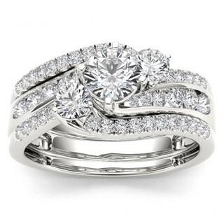 De Couer 14k White Gold 1 1/4ct TDW Diamond Bypass Bridal Ring Set - White H-I