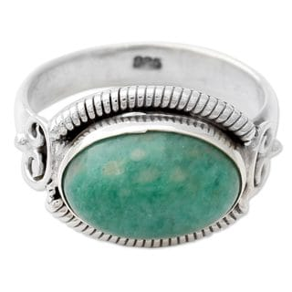 Handcrafted Sterling Silver 'Seafoam' Amazonite Ring (India)