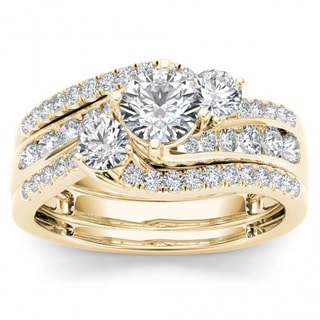 De Couer 14k Yellow Gold 1 1/4ct TDW Diamond Bypass Bridal Ring Set (H-I, I2)