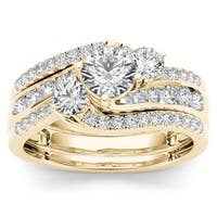 De Couer 14k Yellow Gold 1 1/4ct TDW Diamond Bypass Bridal Ring Set