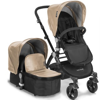 Babyroues Letour II Tan Leatherette Bassinet and Stroller with Black Frame