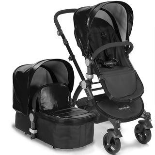 Babyroues Letour II Black Bassinet and Stroller with Black Frame