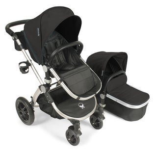 Babyroues Letour Avant Black Bassinet and Stroller with Silver Frame