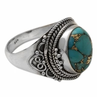 Handmade Sterling Silver 'Golden Greeting' Turquoise Ring (India)
