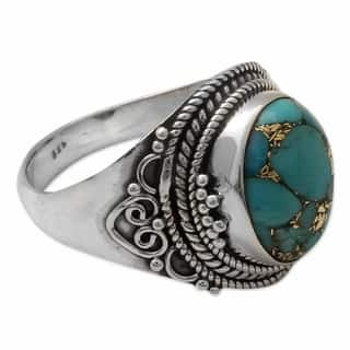 Handmade Sterling Silver 'Golden Greeting' Turquoise Ring (India)|https://ak1.ostkcdn.com/images/products/12976824/P19724699.jpg?impolicy=medium