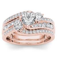 De Couer 14k Rose Gold 1 1/4ct TDW Diamond Bypass Bridal Ring Set - Pink