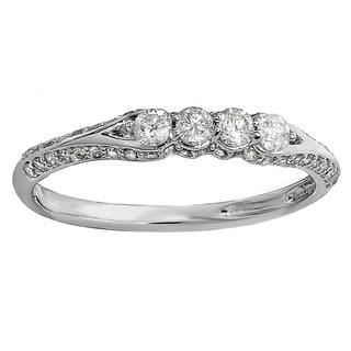 14k White or Yellow Gold 1/2ct TDW Diamond 4 Stone Anniversary Wedding Band (H-I, I1-I2)