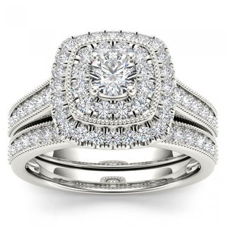 De Couer 14k White Gold 3/4ct TDW Diamond Double Halo Bridal Ring Set