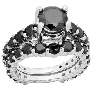 10k Gold 5 1/4ct TDW Black Diamond Bridal Set