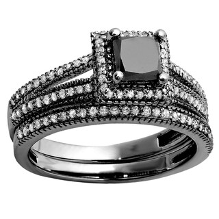 Elora Black Rhodium-plated 14k Gold 1 1/3ct TDW Black and White Diamond Bridal Engagement Ring Set (