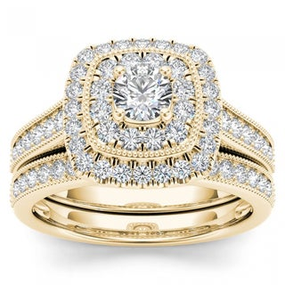 De Couer 14k Yellow Gold 3/4ct TDW Diamond Double Halo Bridal Ring Set (H-I, I2)