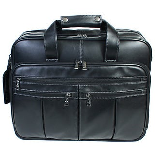 Scully Leather Black Soft Plonge Nappa Leather Laptop Briefcase