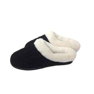 Beverly Rock Women's Faux-fur Fleece-trim Sweater-knit Clog Slippers