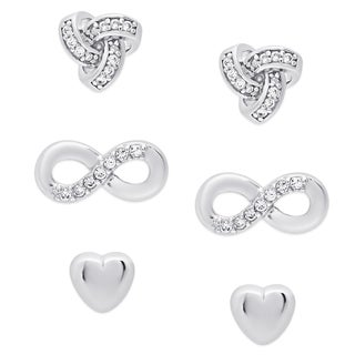 Molly and Emma Sterling Silver Cubic Zirconia Heart, Loveknot and Infinity Design Earrings Set