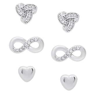 Molly And Emma Sterling Silver Cubic Zirconia Heart Loveknot Infinity Design Earrings Set