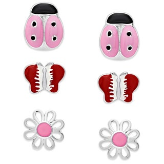 Molly and Emma Sterling Silver Enamel Ladybug, Butterfly, and Flower Earrings Set