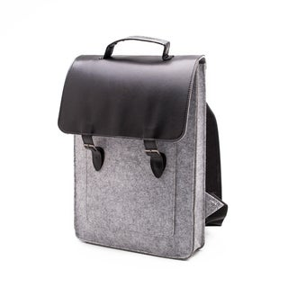 Something Sleek Light Grey Flap-Over Laptop Backpack