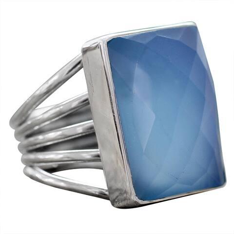 NOVICA Handmade Sterling Silver Sky Reflection Chalcedony Ring (India)