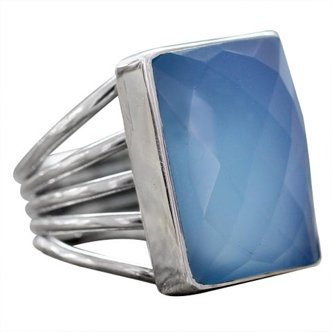 Handmade Sterling Silver 'Sky Reflection' Chalcedony Ring (India)