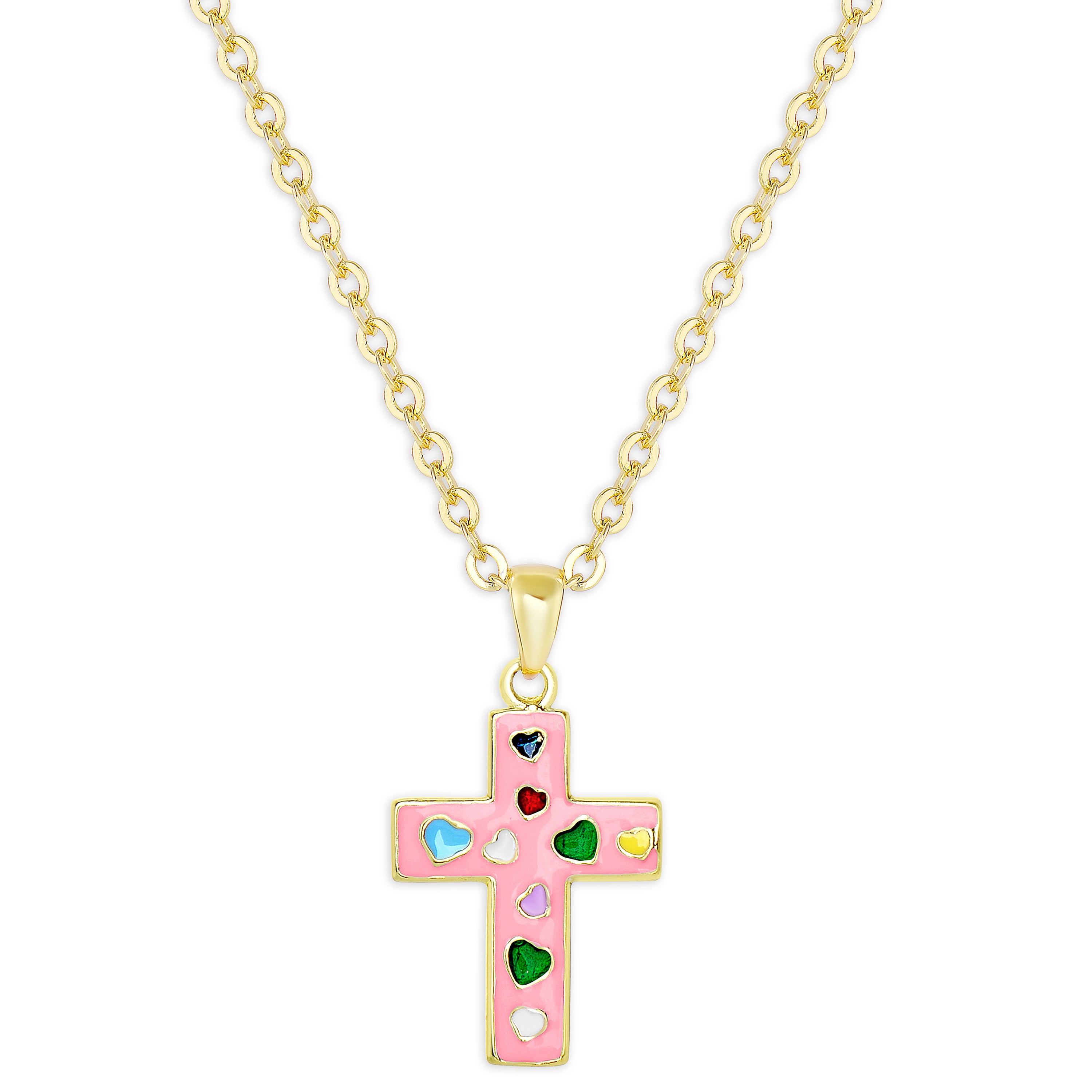 56916164e Molly and Emma Gold Over Silver Pink Enamel Cross Necklace and Ball Stud  Earrings Set