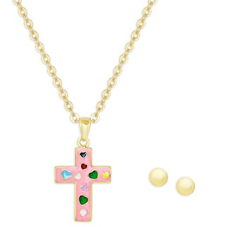 Molly and Emma Gold Over Silver Pink Enamel Cross Necklace and Ball Stud Earrings Set