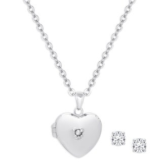 Link to Molly and Emma Sterling Silver Cubic Zirconia Heart Locket and Stud Earrings Set Similar Items in Children's Jewelry