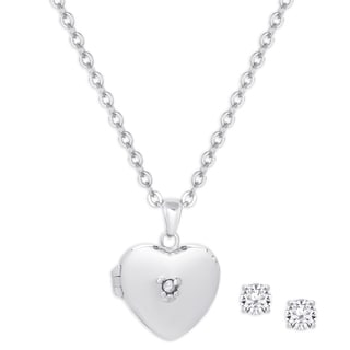 Molly and Emma Sterling Silver Cubic Zirconia Heart Locket and Stud Earrings Set