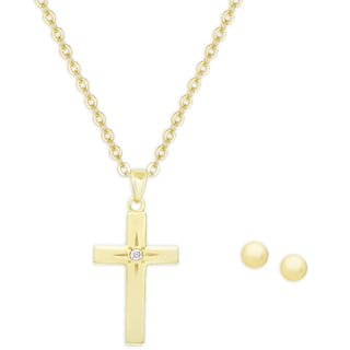 Molly and Emma Gold Over Silver Cubic Zirconia Cross Necklace and Ball Earrings Set