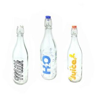 Home Basics Glass Flip Top Bottles (Pack of 3)