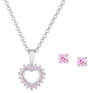 Molly and Emma Sterling Silver Pink Cubic Zirconia Heart and Stud Earrings Set
