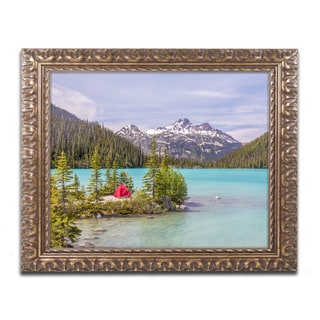 Pierre Leclerc 'Red Tent on Blue Lake' Ornate Framed Art