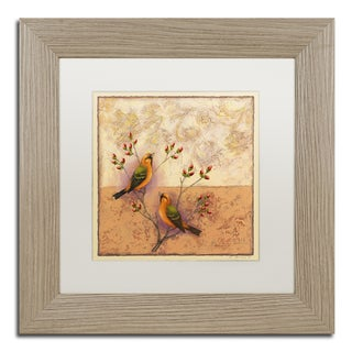 Rachel Paxton 'Two Orange Birds' Matted Framed Art