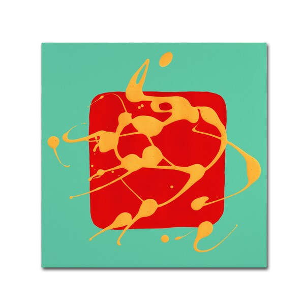 Amy Vangsgard 'Red Square Teal ' Canvas Art