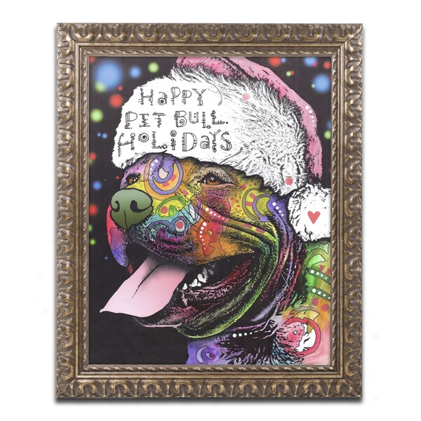 Dean Russo 'Christmas Pitbull' Ornate Framed Art