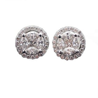 JewelMore 18k White Gold 0.70ct TDW Princess & Marquise Diamond Halo Stud Earrings Stud (F-G, VS2-SI1)