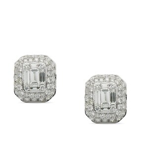 JewelMore 18k White Gold 1.60ct TDW Baguette and Round Diamond Halo Stud Earrings (F-G, VS1-VS2)