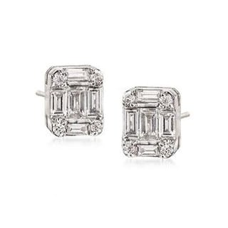 JewelMore 18k White Gold 1/3ct TDW Baguette and Round Diamond Stud Earrings (VS1-VS2, F-G)