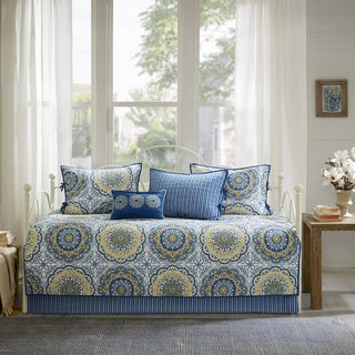 Madison Park Moraga Blue Printed  6 Piece Day Bed Cover Set