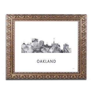Marlene Watson 'Oakland California Skyline WB-BW' Ornate Framed Art
