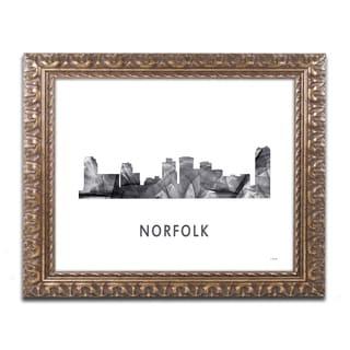 Marlene Watson 'Norfolk Virginia Skyline WB-BW' Ornate Framed Art