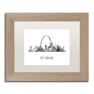 Marlene Watson 'St Louis Missouri Skyline WB-BW' Matted Framed Art