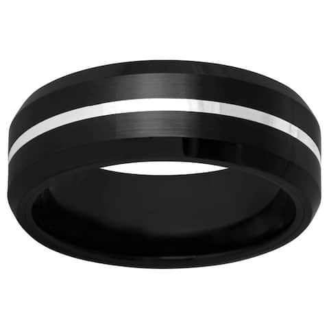 Men's Black Ceramic and Sterling Silver Band