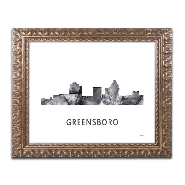 Marlene Watson 'Greensboro NC Skyline WB-BW' Ornate Framed Art