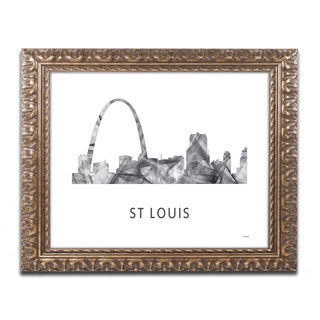 Marlene Watson 'Gateway Arch St Louis WB-BW' Ornate Framed Art