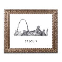 Marlene Watson 'Gateway Arch St Louis WB-BW' Ornate Framed Art