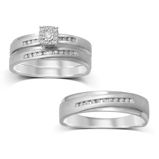 Unending Love 10k White Gold 1/5ct TDW Rolling Etched 3-Piece Bridal Set