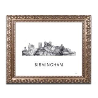 Marlene Watson 'Birmingham Alabama Skyline WB-BW' Ornate Framed Art