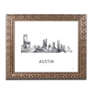 Marlene Watson 'Austin Texas Skyline WB-BW' Ornate Framed Art