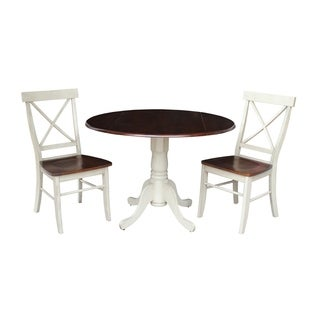 """Set of 3 pcs - 42"""" Dual Drop Leaf Table with 2 X-back chairs"""